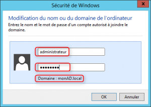 Jonction domaine 2 - saisie mot de passe administrateur