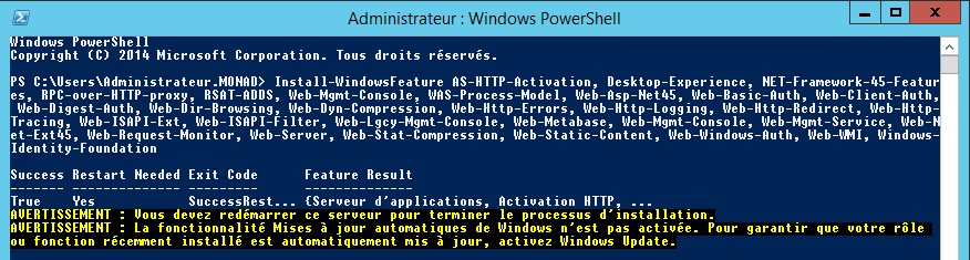 Exchange 2013 prérequis PowerShell