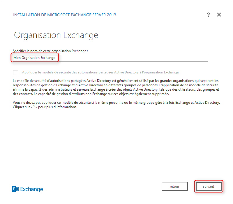 Exchange Setup Step Organisation Name