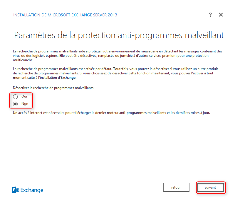 Exchange Setup Activer la protection anti-programmes malveillants