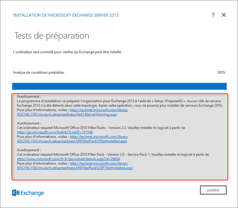 Setup Exchange Step 10 Validation des avertissements