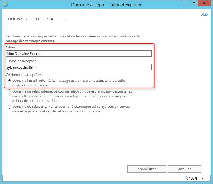 Exchange 2013 ajouter un domaine externe