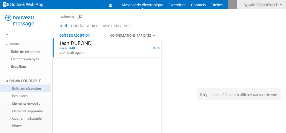 Exchange 2013 - Envoi mail en interne