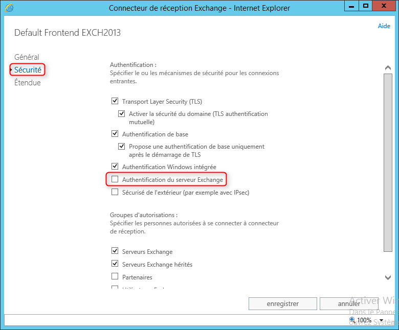 Exchange 2013 Configuration authentification Receive Connector