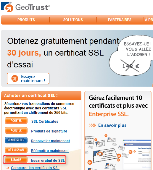 Geotrust certificat SSL essai