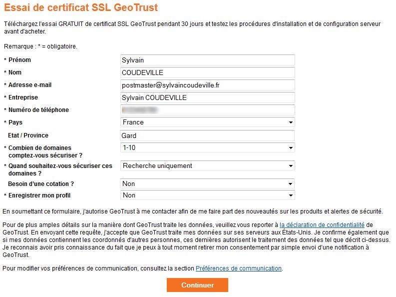 Geotrust commande certificat SSL gratuit