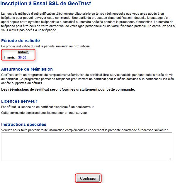 Geotrust commande certificat SSL gratuit 2