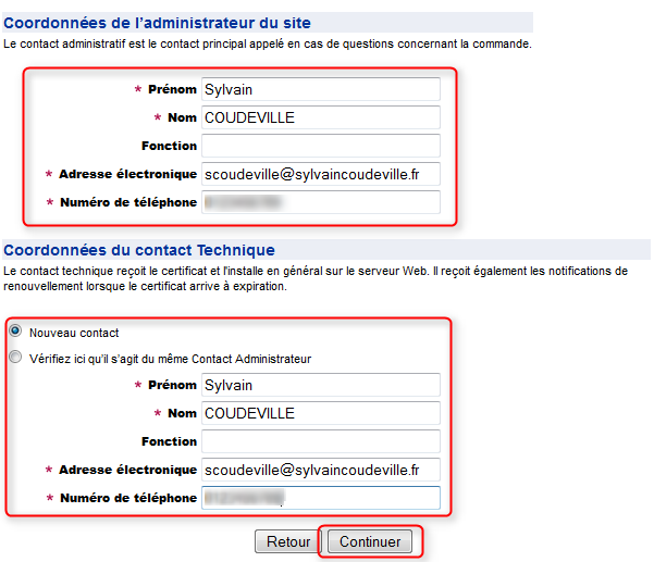 Contacts commande certificat ssl gratuit