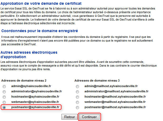 Finalisation commande certificate geotrust gratuit