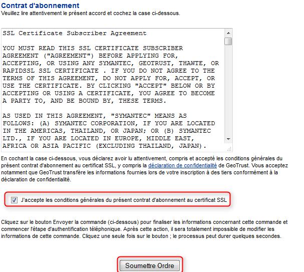 Commande certificat SSL gratuit finalisation