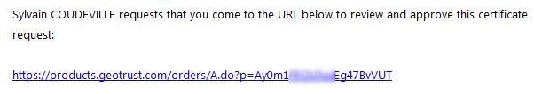 Lien confirmation commande certificat SSL