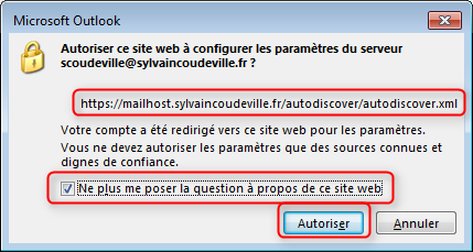 Config Outlook Exchange hors domaine 3